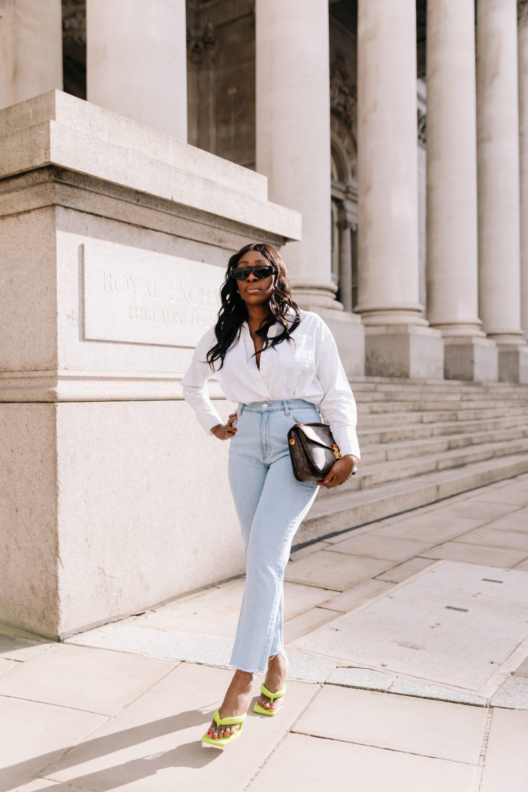 High Waisted Jeans & Denim Trends - high waisted jeans - louis vuitton pochette metis - Tasha Antwi