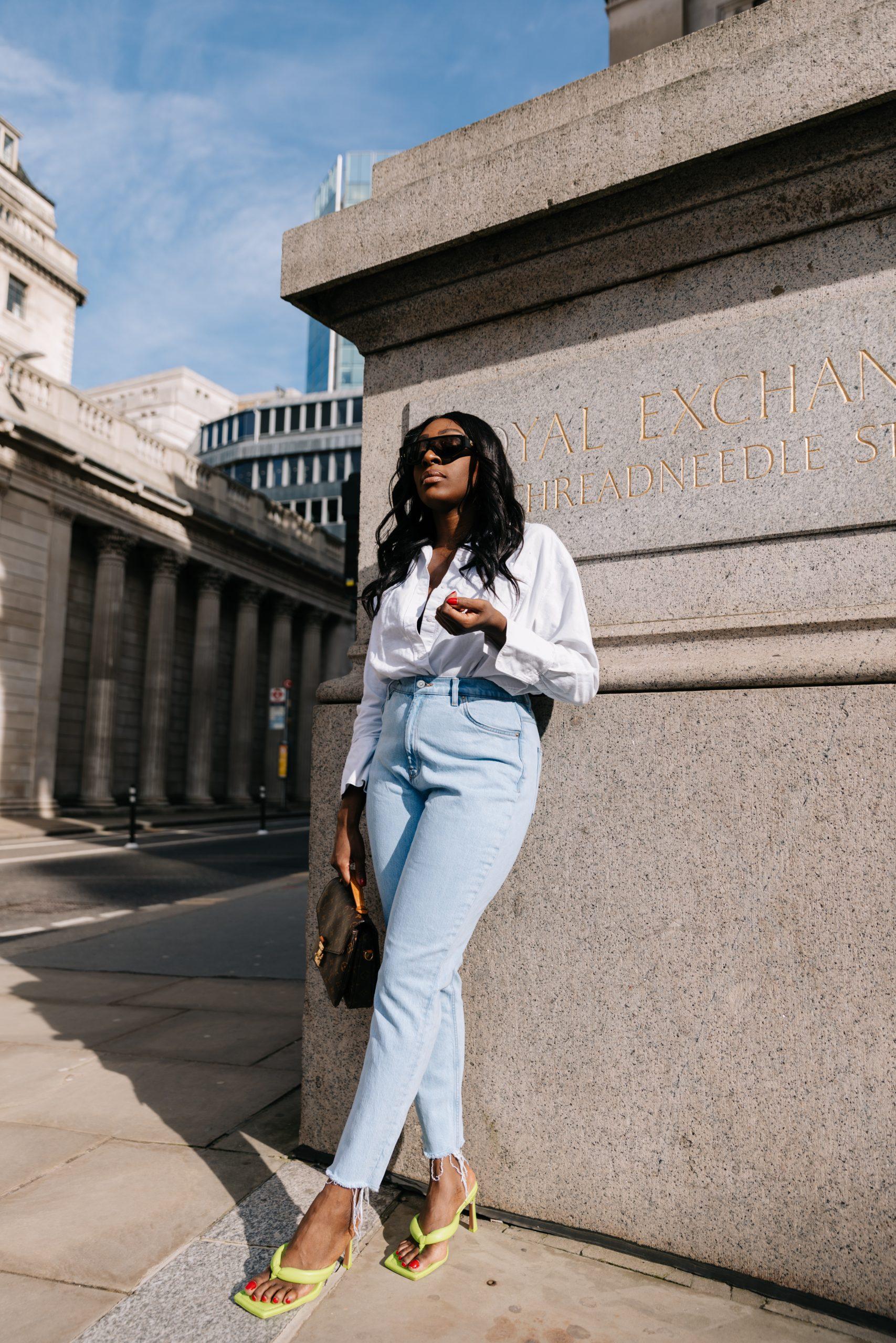 High Waisted Jeans & Denim Trends - high waisted jeans - bottega veneta sunglasses 2 straight leg jeans - Tasha Antwi