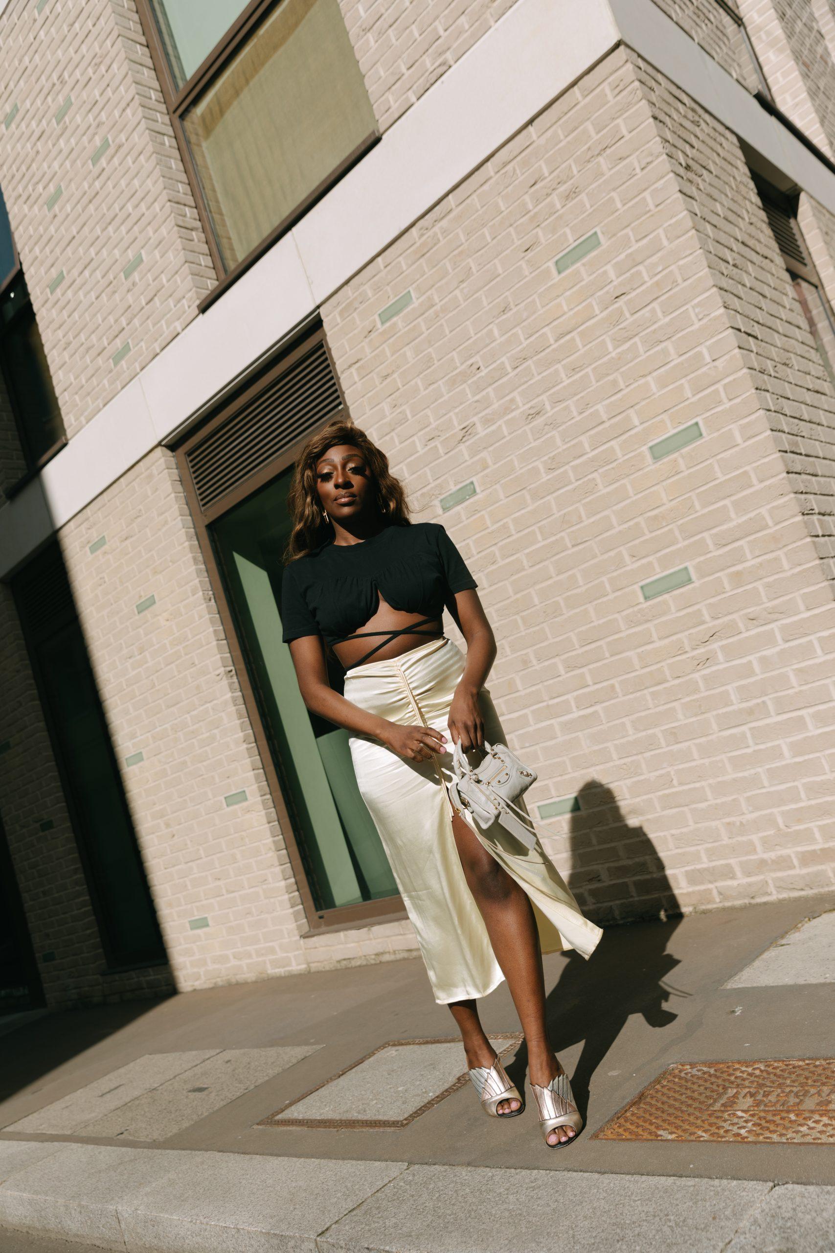 Jacquemus T-Shirt and Crop Top - Zara Satin midi skirt - Tasha Antwi