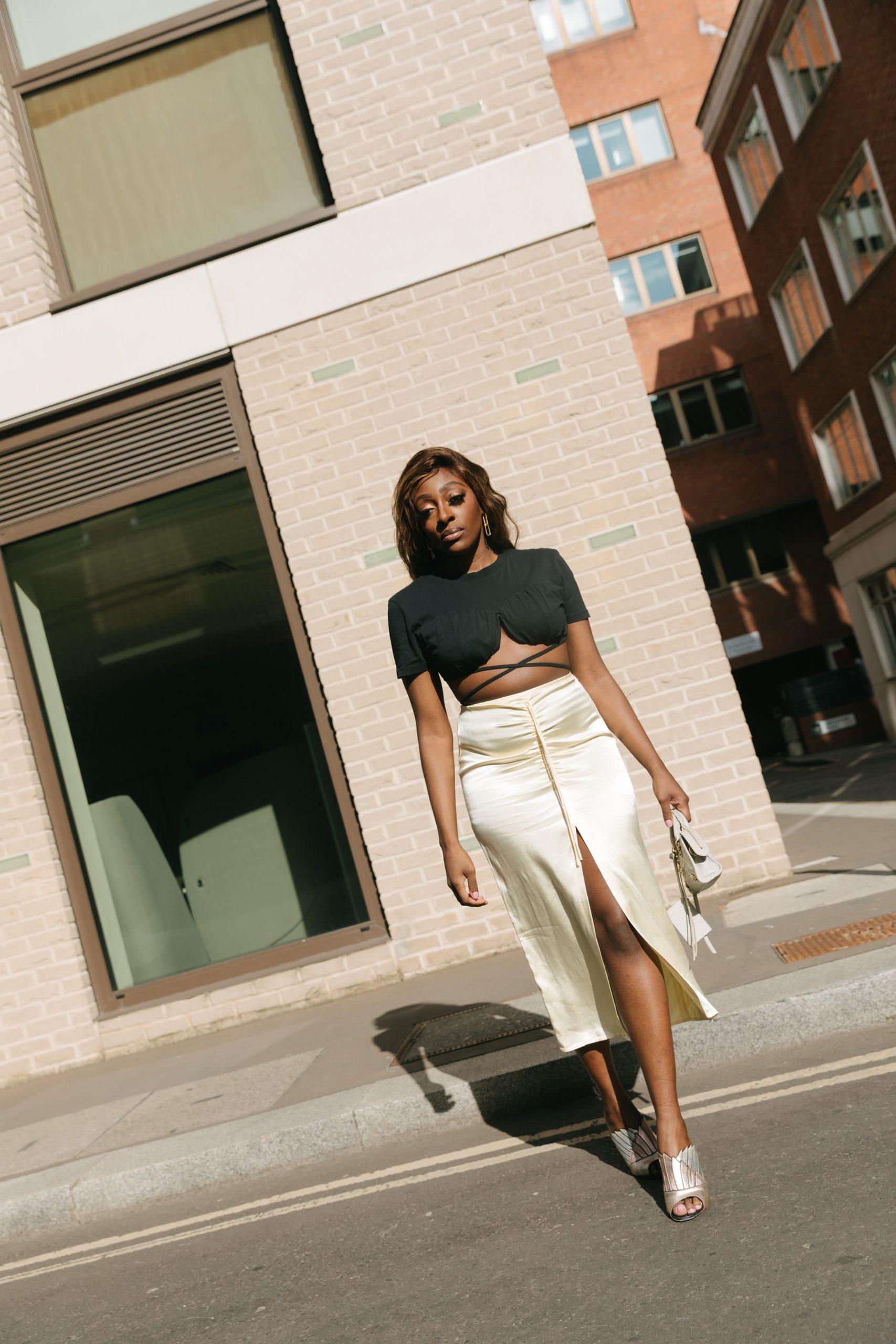 Jacquemus T-Shirt and Crop Top - Zara Satin midi skirt - Balenciaga mini city bag - walking - Tasha Antwi