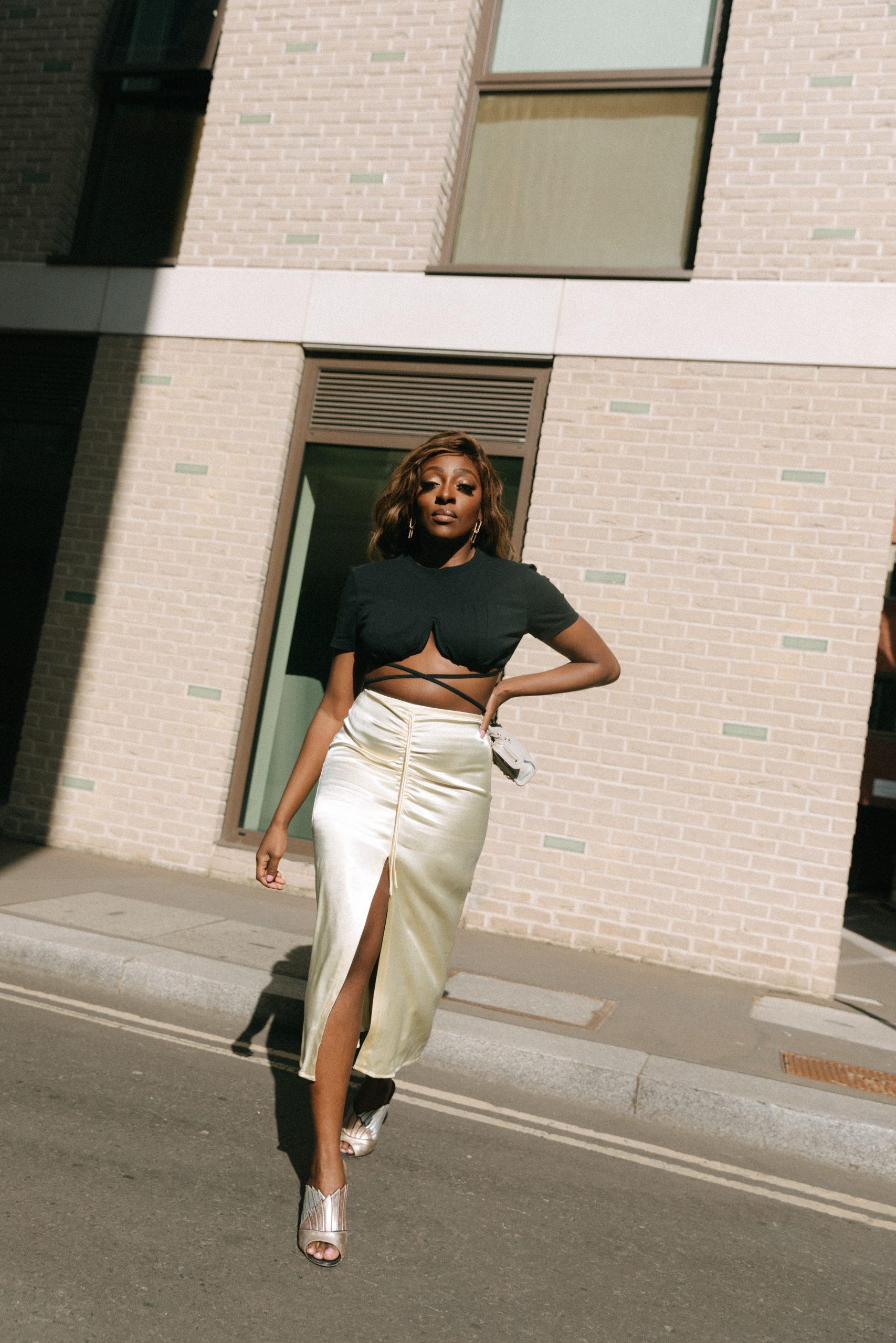 Jacquemus T-Shirt and Crop Top with underwire- Zara Satin midi skirt - Tasha Antwi